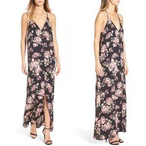 Leith Pink Floral Print Racerback Maxi Dress